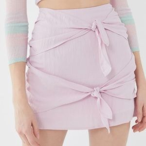 Urban Outfitters Linen Double Knot Mini Skirt